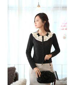 Pretty Korean Style Slim Bow Knot Laciness Cardigan : Tidebuy.com