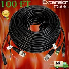Lot 2  PTZ Extension Cable Power /& Video /& RS-485 Control Cable 100Ft for Q-see