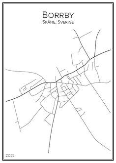 Borrby. Skåne. Sverige. Map. City print. Print. Affisch. Tavla. Tryck. Stadskarta.