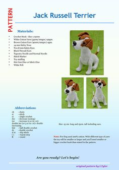 Jack Russell Terrier Crochet Pattern Crochet Dog PatternYou can find Jack russells and more on our website. Bunny Crochet, Cute Crochet, Crochet Animals, Crotchet, Jack Russell Terriers, Crochet Dog Patterns, Amigurumi Patterns, Diy Paso A Paso, Cat Amigurumi