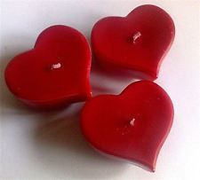 75 x very berry / red heart shaped floating tealight candles - cheapest on ebay