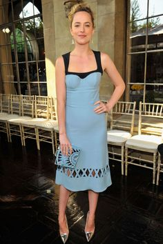 The bodice of Johnson's Guilietta dress mimics a sexy bustier at the CFDA Fashion Fund event.