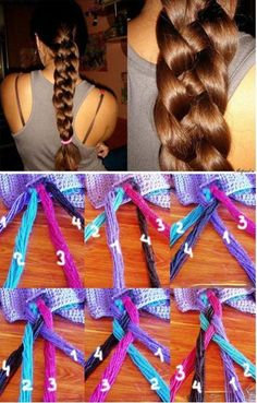 So much easier to understand with different colored strands. For Hannah's crazy thick hair:)