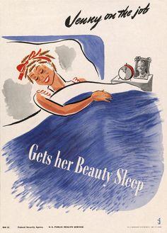 Jenny on the Job. Gets Her Beauty Sleep. #vintage #health #beauty #sleep