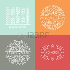 logo linear: Vector organic labels and emblems in trendy linear style - mono line design elements