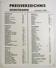 """DDR Museum - Museum: Objektdatenbank - """"Preisverzeichnis Wurstwaren"""" Copyright: DDR Museum, Berlin. Eine kommerzielle Nutzung des Bildes ist nicht erlaubt, but feel free to repin it!"""