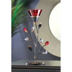 2  RUBY RED  BLOSSOM TEALIGHT CANDLE HOLDER TABLE DECOR CENTERPIECES NEW~~D1083