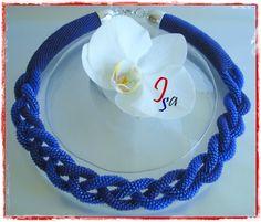 Collier MS 'Tresse' bleu cobalt