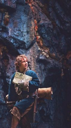 Bilbo the Burglar with his cute little map and cute little tools. Going to meet a cute little dragon- er, well...