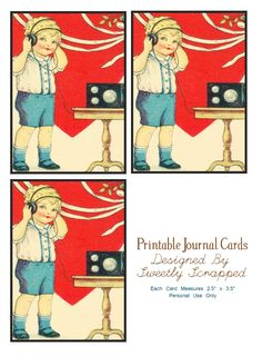 "Sweetly Scrapped: Free Printable Journal Cards....  They measure 2 1/2"" x 3 1/2"" They have a sweet little boy listening to some tunes.... They have a black border around them. You can use these as guides to cut...You can either cut before the black line to eliminate it or you can do it after the black line for extra detail...."