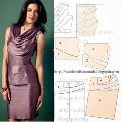 vestido piercing g size - Piercing Dress Sewing Patterns, Blouse Patterns, Clothing Patterns, Blouse Designs, Fashion Sewing, Diy Fashion, Ideias Fashion, Sewing Clothes, Diy Clothes