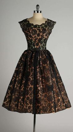 Vintage 1950's Black Lace Illusion Dress