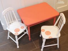 Coral over Pink Chalky Paint Child's Table and Chair Set at The Happy Housie done 1