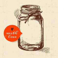 Rustic Mason Canning Jar. Vintage Hand Drawn Sketch Design. Vector.. Royalty Free Cliparts, Vectors, And Stock Illustration. Image 31441380.