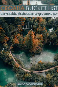 Great Croatia Bucket List: Epic Places to Visit in Croatia - Travel Destinations 2019 Croatia Itinerary, Croatia Travel Guide, Cool Places To Visit, Places To Travel, Places To Go, Croatian Islands, Plitvice Lakes National Park, Croatia National Park, Visit Croatia