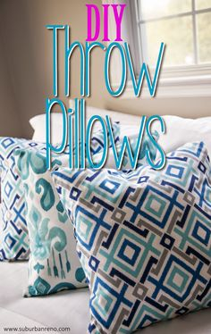 DIY Throw Pillows (no sewing necessary!) Don't know how to sew? Don't worry! Check out the no-sew throw pillow sham tutorial on my blog that outlines how to create your own custom throw pillow using fabric glue rather than a sewing machine! | Envelope Pillow | No-Sew Pillow | Glue Pillow | DIY Pillow Sham |