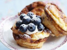 Cheesecakemuffins met blauwe bessen