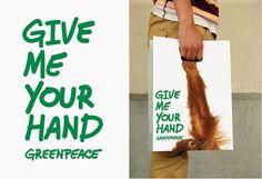 """Sac Greenpeace réalisé pour la campagne """"Give earth a hand"""""""