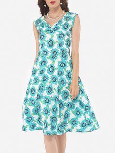 V Neck Dacron Floral Printed Skater-dress Only $15.99- fashionme.com…