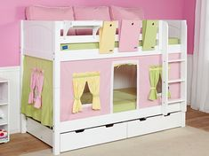 Childrens White Bunk Beds storage bed plans - Home Design Unique Bunk Beds, Unique Kids Beds, Bunk Beds Small Room, Cabin Bunk Beds, White Bunk Beds, Wooden Bunk Beds, Bunk Beds With Storage, Cool Bunk Beds, Kids Bunk Beds