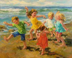 Beach Beats, Corinne Hartley artist. Galleries in Carmel California- Jones & Terwilliger.