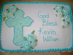 Baptism for a boy - 1/2 sheet yellow / chocolate cake, buttercream filling, icing & decorations