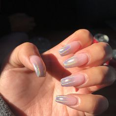 Holographic ombré nails slight coffin with gel