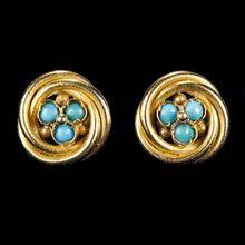 Antique Turquoise Love Knot 22k Gold Screwback Pierced Stud Earrings