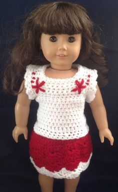 Nordic Christmas Outfit, American Girl Doll Clothes, 18 inch Doll Clothes, Crocheted Doll Clothes, Red & White Top, Skirt, Outfit, Christmas by MelindasClosetFinds on Etsy #EtsyGifts