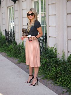 Pleated Skirt, Heels, and a T-Shirt.