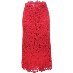 Valentino floral lace skirt (17.670 DKK) ❤ liked on Polyvore featuring skirts, valentino, red, midi skirt, lace midi skirt, red midi skirt, floral midi skirt and high waisted skirt