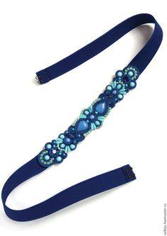 Пояса, ремни ручной работы. Ярмарка Мастеров - ручная работа. Купить Пояс сине-голубой сутажный. Handmade. Темно-синий