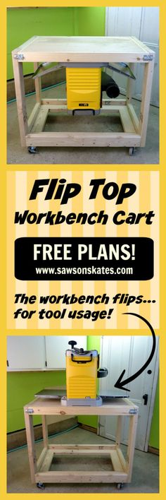 Check out the free DIY plans for this flip top workbench cart! Unlike most workbenches, this tutorial show how to build one where the top flips, so tools can be mounted on the other side. Tool storage on one side and a place to work on projects on the other... win-win! Plus unlike most of the fliptop furniture ideas, this project uses 2x4's for most of the construction.