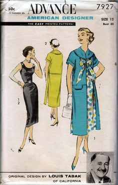 1950's Misses' Dress and Caftan Coat Designed by Louis Tabak Advance 7927  Size 12  Bust 30
