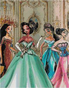 Princesses Boutique Pocahontas, Tiana, Jasmine and Mulan. Disney Princess Fashion, Disney Princess Art, Disney Style, Disney Love, Disney Magic, Film Disney, Disney Nerd, Disney Fan Art, Disney Pixar