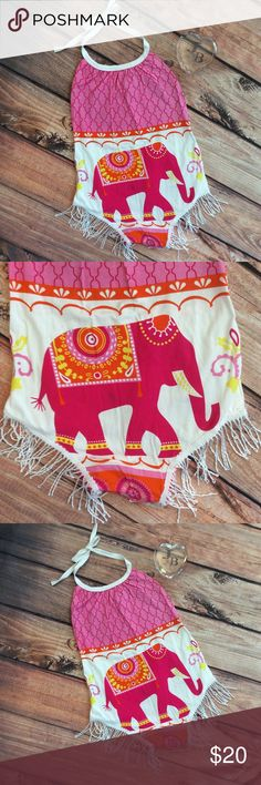 Boutique Baby Girl Elephant Fringe Romper Adorable baby one piece bubble style Romper with halter straps for adjustment at neck. Cute and bright elephant design to front and back. Fringe detail at legs and snap bottom. Cute summer fun outfit! One Pieces Bodysuits