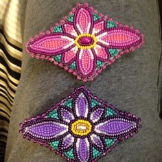 Always trying different things girl's #beaded #hairpins #hairclips #beadwork #pink #purple #flower