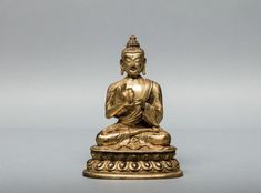 Chinese Antique Medicine Buddha Cast seated in dhyanasana on a double lotus base, both hands held in dharmachakra mudra, wearing a simple dhoti with floral border, the face with downcast eyes and meditative expression. Statues, Bronze, Chinese Antiques, Buddhism, Medicine, Vintage, Art, Art Background, Kunst
