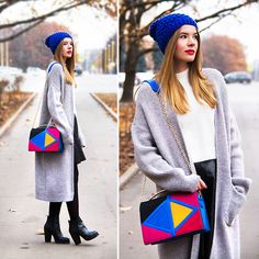 Geometric --- Kira Plastinina Bag, Asos Ankle Boots, Kira Plastinina Midi Woolen Cardigan