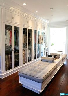Love the glass doors to keep dust off clothes