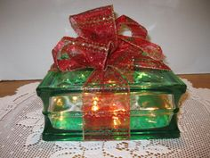 Red Gold and Green Sparkle Ribbon on GREEN by Originalsbysuej, $25.00