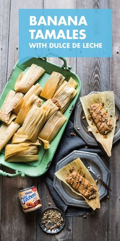 These Dulce de Leche Banana Tamales put a sweet spin to a classic savory treat. - These Dulce de Leche Banana Tamales put a sweet spin to a classic savory treat. Served with drizzle - Dessert Tamales, Mexican Food Recipes, Dessert Recipes, Mexican Desserts, Dinner Recipes, Drink Recipes, Sweet Tamales, Tamale Recipe, Gastronomia