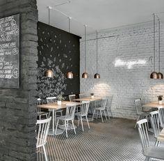 """C'est dans un café, restaurant """"Twenty 7""""  que je vous invite aujourd'hui ... avec au menu briques en blanc ou en noir. C'est un duo de des..."""