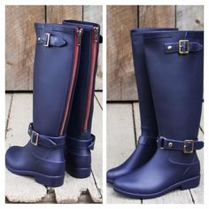 "• Navy Rain Boots Don't get caught in a rain or snow storm without these perfect navy winter boots! Constructed from a soft rubber outer that is fully waterproof. Easy on and off with red detail zipper backing and buckle features. Fully lined interior with a padded footbed for a comfy fit.  Boot height: 16""  Top Circumf: 14"" Heel Height: 1"" If you are a half size, round to next size up for best fit.   PLEASE DO NOT PURCHASE THIS LISTING. Comment your size below and I'll make a new listing…"