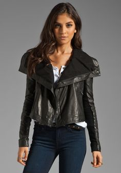 VEDA Max Seamed Leather Jacket in Black  891.00