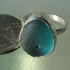 HL Sea Glass & Beach Glass Jewelry, Stunning turquoise bezel set sea glass ring.