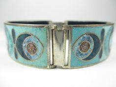 Stegemaille Armband Vintage 30er 50er Emaille Schibensky ? enamel bracelet v74 N