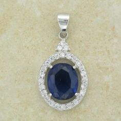 Blue Oval Stone Crystal Surround Pendant Inc Chain Irish Jewelry, Sterling Silver Necklaces, Sapphire, Bling, Pendants, Drop Earrings, Chain, Crystals, Stone