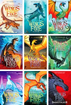 Wings of Fire covers cover art by Joy Ang dragon middle grade? Wings Of Fire Quiz, Wings Of Fire Dragons, Dragon Book Series, Fire Cover, Fantasy Books To Read, Legendary Dragons, Fire Book, Fire Art, Books For Teens