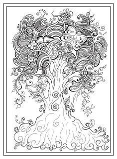 Adult colouring tree